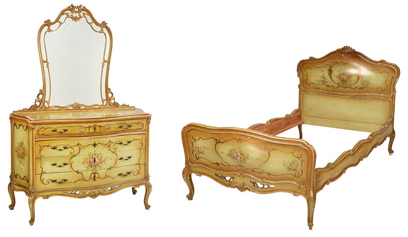 Louis XV Style Paint Decorated Bedroom Suite