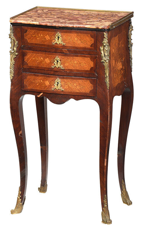 Louis XV Style Marquetry Inlaid Bedside Commode