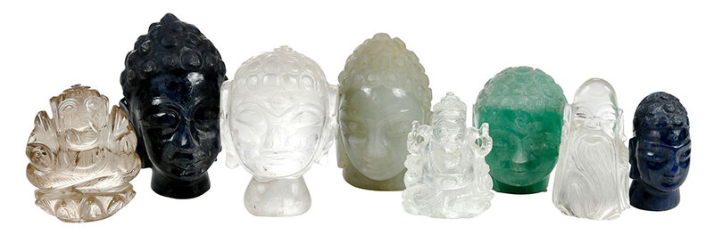 Eight Asian Hardstone and Rock Crystal Figures