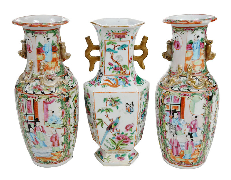 Three Chinese Export Famille Rose Vases