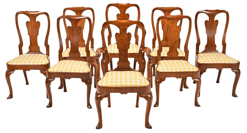 Eight Queen Anne Style Walnut Dining Chairs