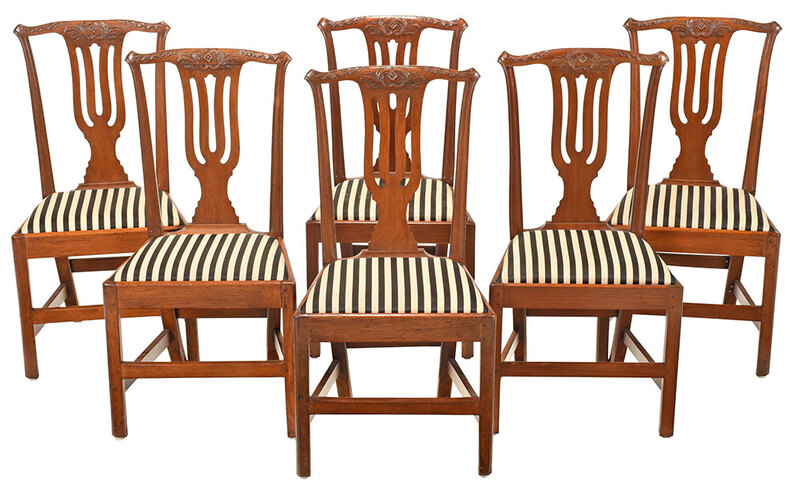 Assembled Set of George III Leaf Carved Dining Chairs