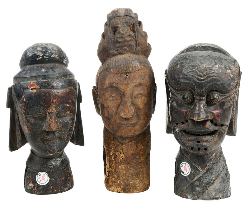 Three Asian Carved Wood Puppet Heads