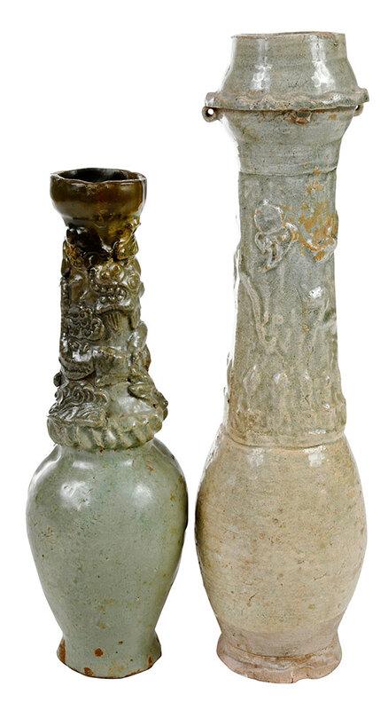 Two Chinese Celadon Glazed Funerary Jars