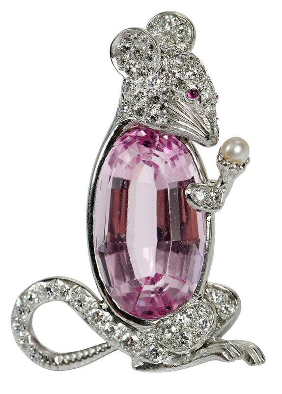 Platinum Gemstone & Diamond Brooch