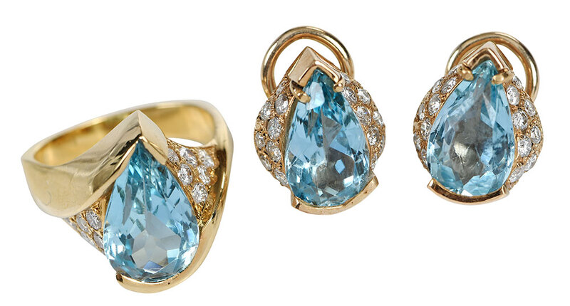 14kt. Diamond & Aquamarine Ring and Earrings
