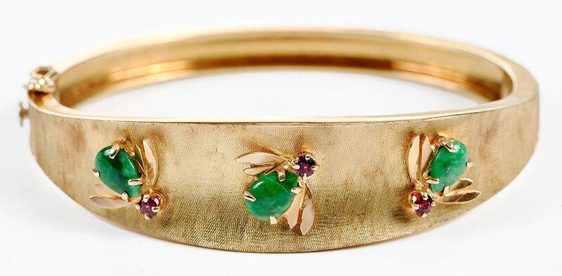 Retro 14kt. Gemstone Bug Bracelet