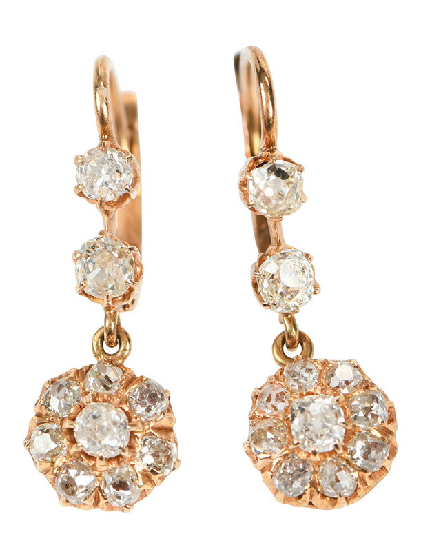 Antique Gold Diamond Earrings