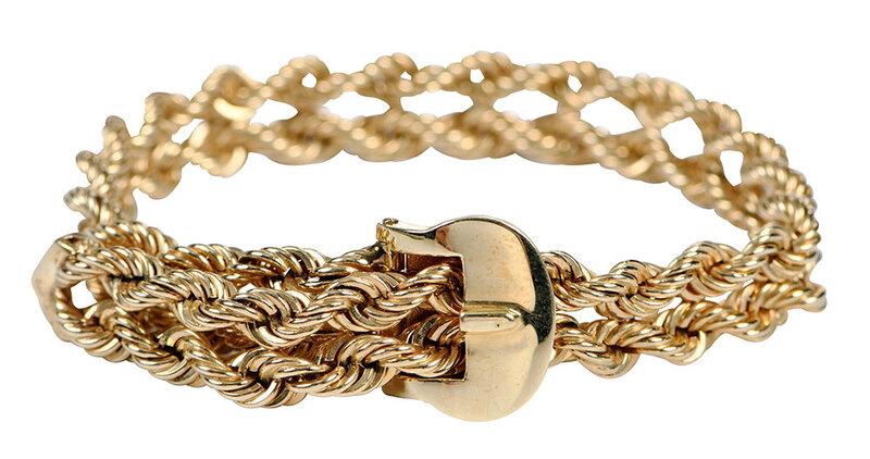 14kt. Twisted Rope Buckle Bracelet