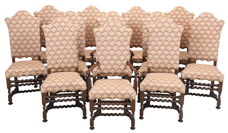 Set Twelve Jacobean Style Upholstered Dining Chairs