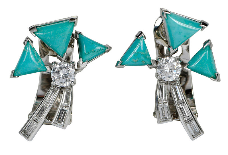 Art Deco Platinum Diamond & Turquoise Earclips