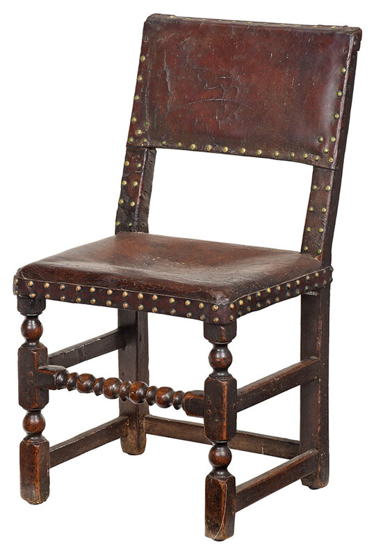 Cromwellian Leather Upholstered Side Chair