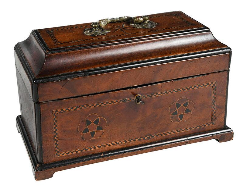 George II Inlaid Mahogany and Satinwood Tea Caddy