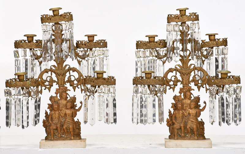 Pair Gilt Bronze Girandoles with Crystal Drops