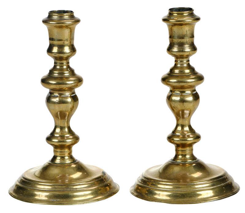Pair of British Brass Candlesticks