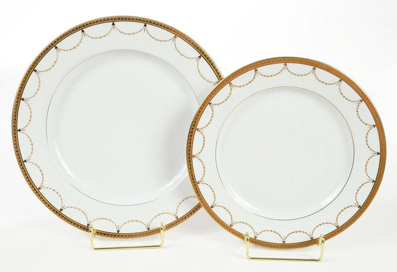 21 Limoges Gilt Decorated Porcelain Plates