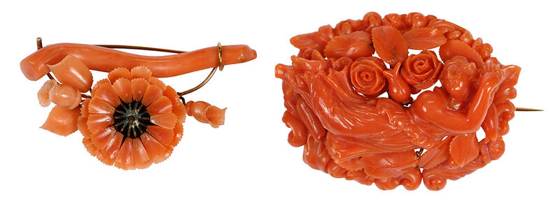 Two Gold Antique Carved Coral Brooches