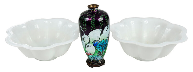 Pair Peking Glass Bowls and Cloisonne Vase