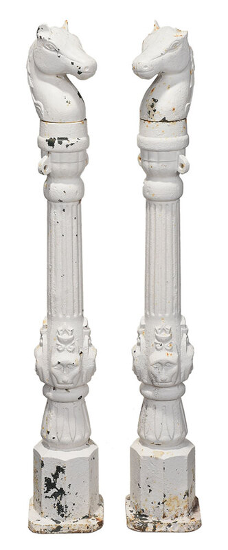 Two Painted Cast Iron Horse Hitching Posts
