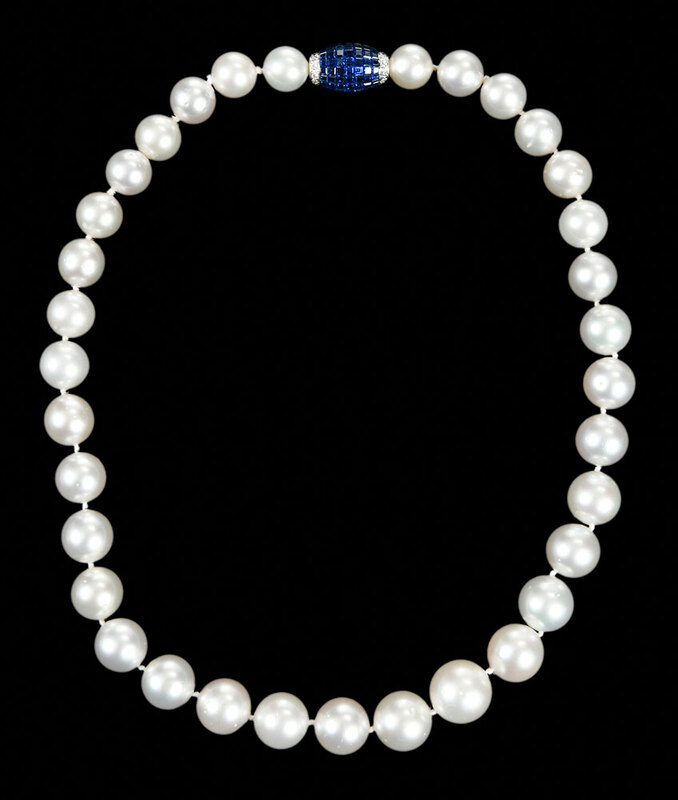 Pearl Necklace and Platinum Gemstone Clasp