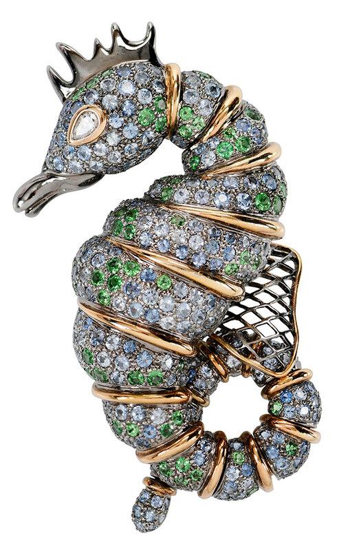 18kt. Diamond and Gemstone Seahorse Brooch