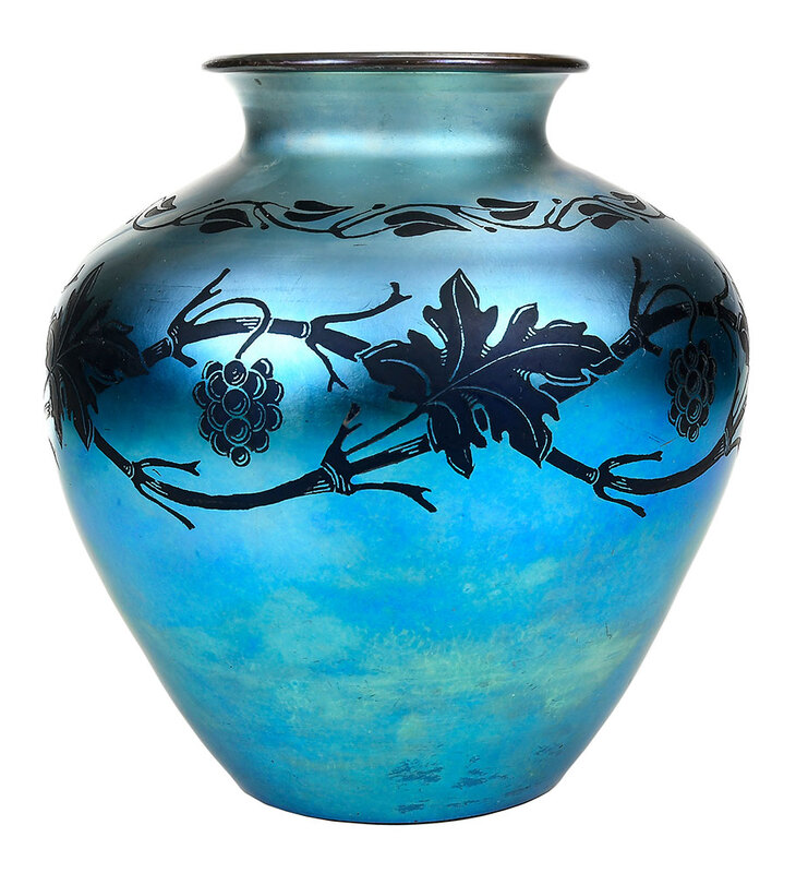 Aurene Blue Glass Grapevine Pattern Vase