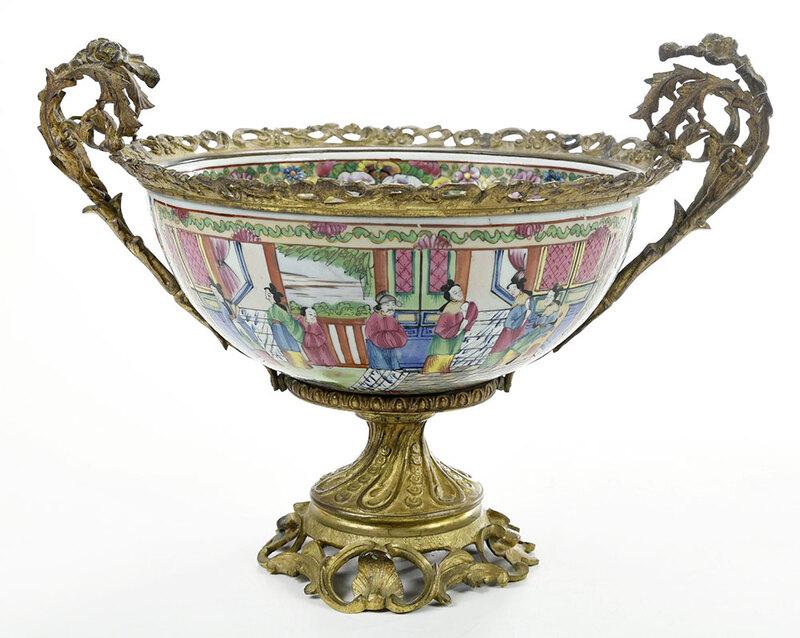 Chinese Gilt Bronze Mounted Rose Mandarin Bowl