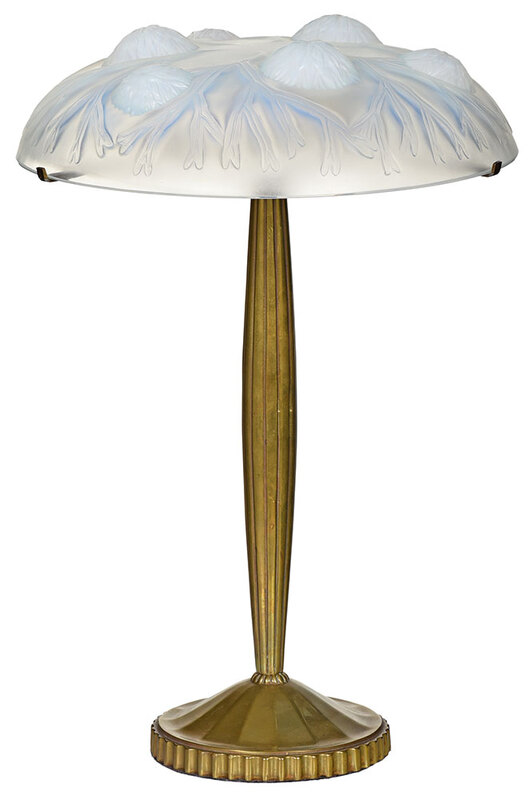 Brass Table Lamp with Lalique Style Glass Shade