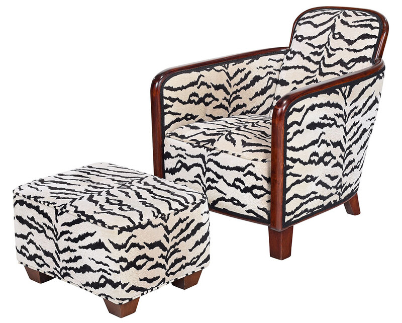 Art Deco/Style Upholstered Club Chair and Ottoman