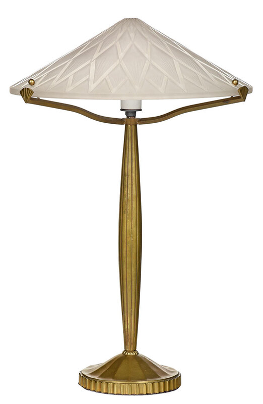 Art Deco Lamp with Pierre D'Avesn Signed Shade