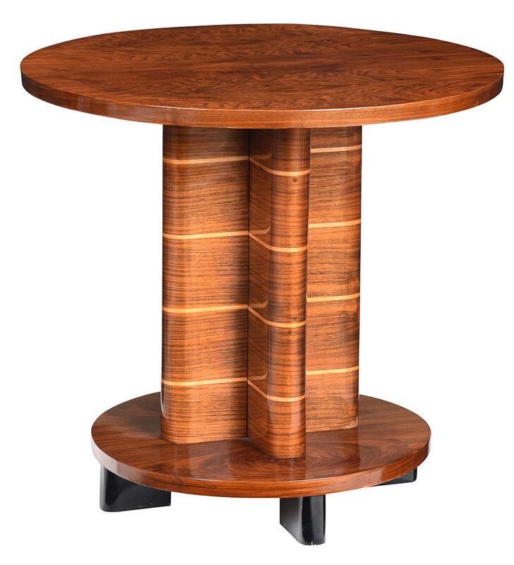 Art Deco Figured Inlaid Walnut Pedestal Side Table