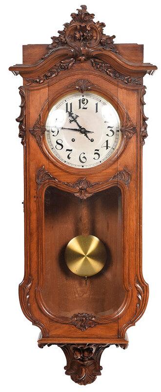 L. Furtwangler & Sohne Walnut Wall Clock