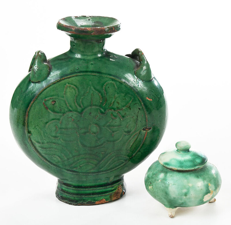 Two Chinese Green Glazed Pottery Vessels