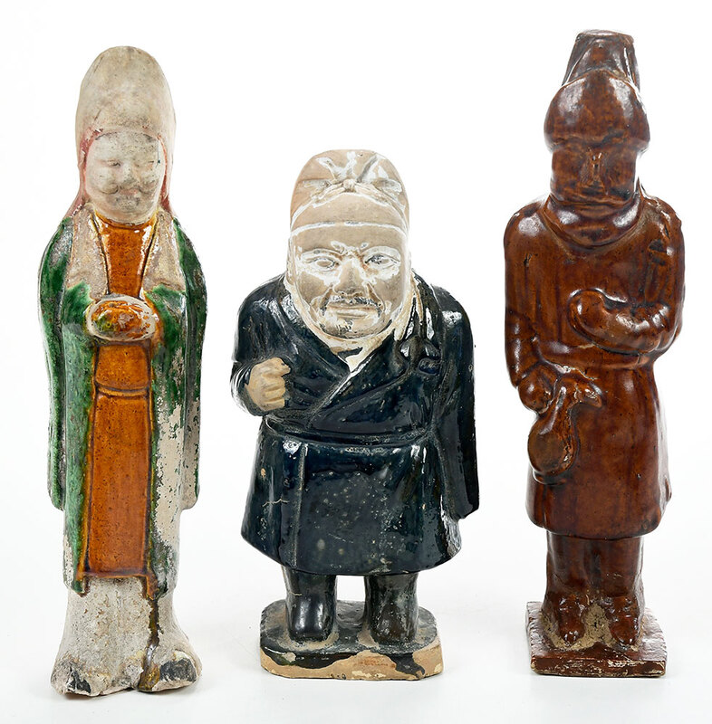 Three Chinese Glazed Pottery Standing Figures