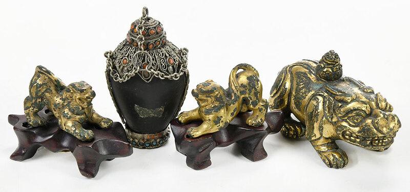 Chinese Gilt Bronze Animal Figures, Snuff Bottle