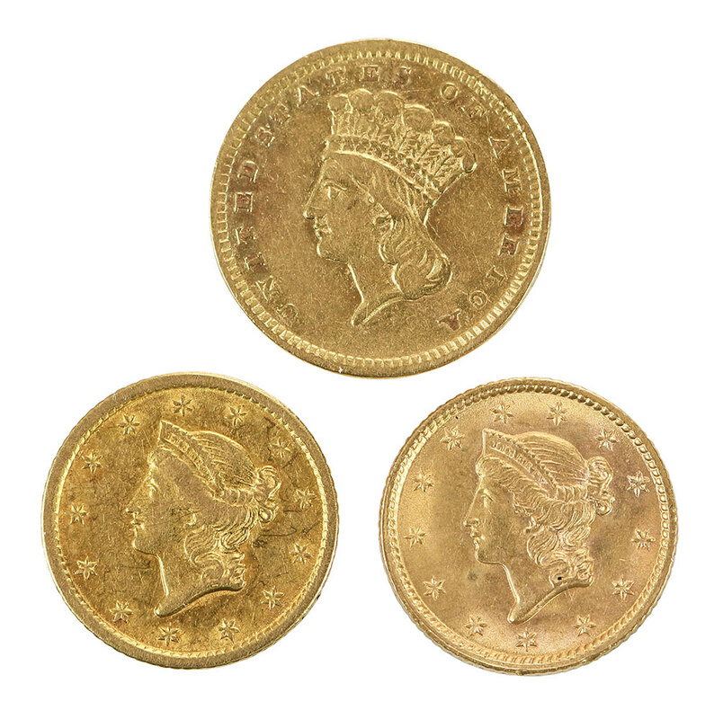 Three $1 Gold Coins