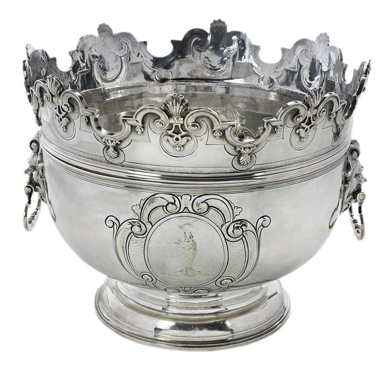 Queen Anne English Silver Monteith Bowl