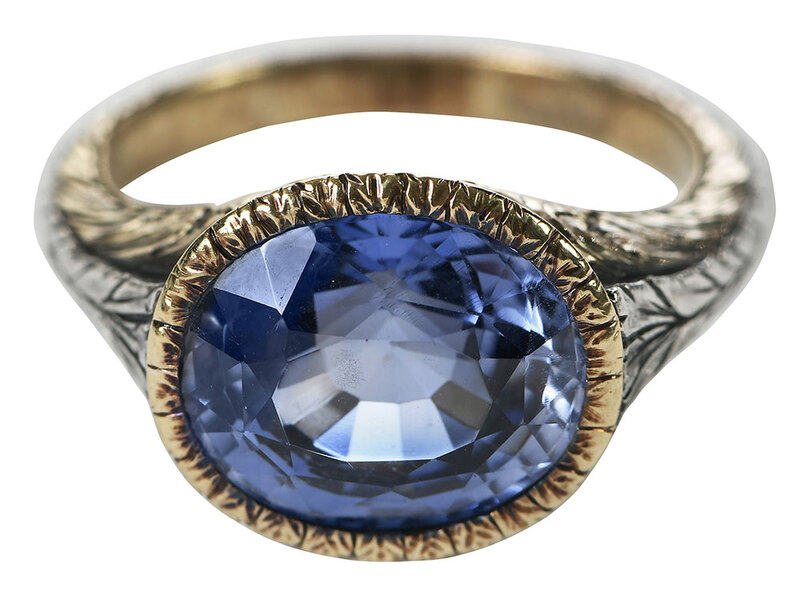 Silver and Gold Synthetic Sapphire Ring