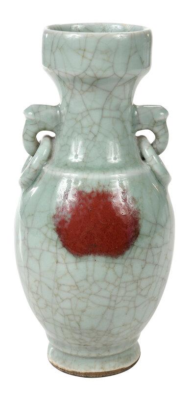Chinese Crackled Celadon Baluster Vase