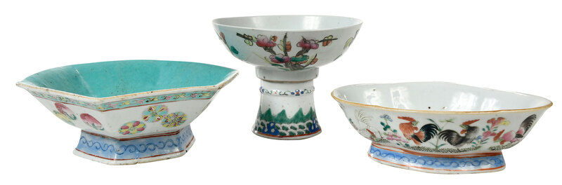 Three Chinese Famille Rose Porcelain Bowls, Cup