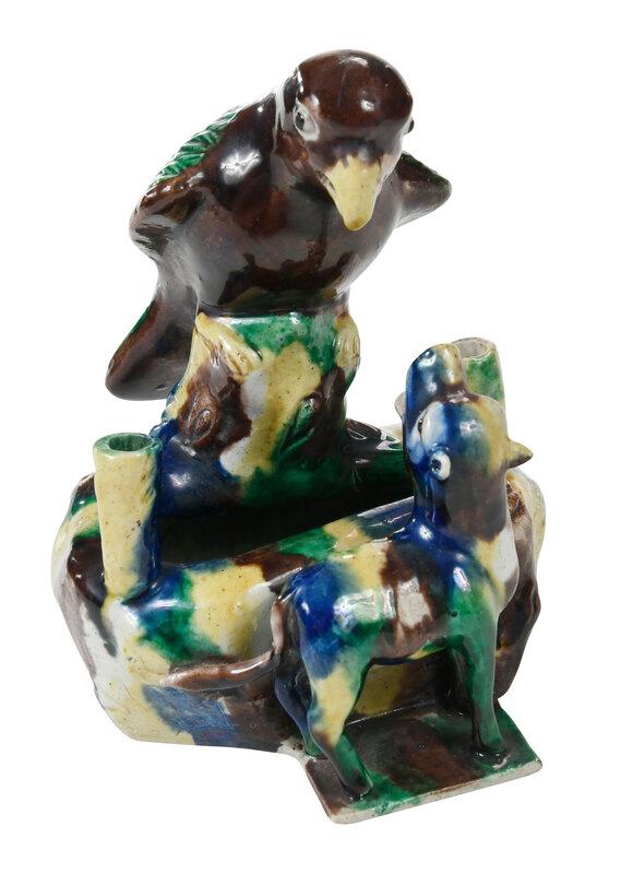 Chinese Export Sancai Glazed Figural Inkwell