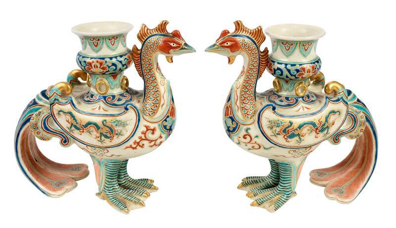 Pair Japanese Kutani Style Phoenix Candlesticks
