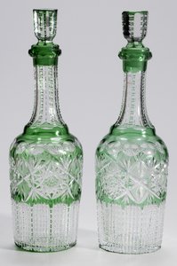 Pair Hoare Brilliant Period Cut Glass Whiskey Decanters