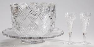 Dorflinger Brilliant Period Cut Glass Champagne Bowl, Glasses