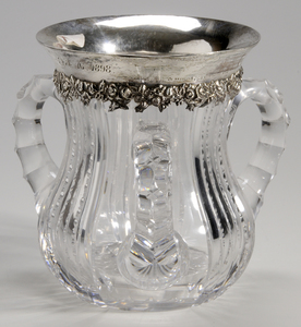 Brilliant Period Cut Glass Three Handled Loving Cup