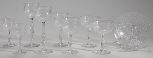 Eight Assorted Brilliant Period Cut Glass Stems, Two Plates