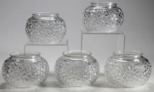 Five Brilliant Period Cut Glass Hanging Globes