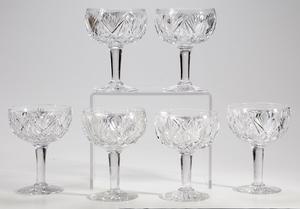 Six Brilliant Period Cut Glass Compotes