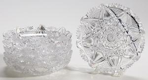 Set of Six Bergen Brilliant Period Cut Glass Ice Cream Dishes