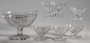 Pairpoint Brilliant Period Cut Glass Master Salt, Individual Salts